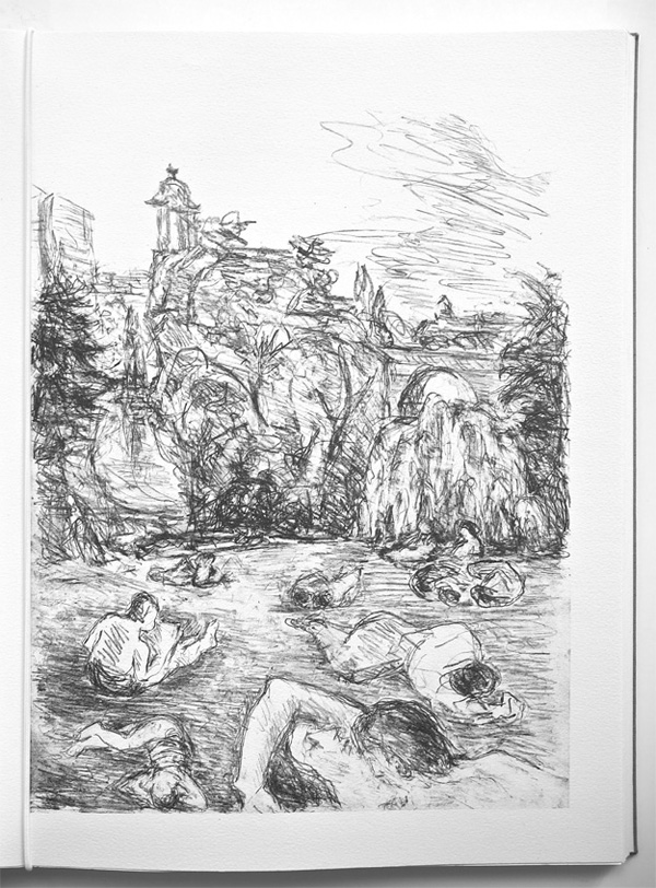 "Print of Henri Cartier-Bresson drawing of ""Buttes-Chaumont"" "" . . . towards the south-east, the Canal Saint-Martin joins up with the Canal de l'Ourcq at the outlet of the Bassin de La Villette . . . at the elbow of the outer boulevards and the overhead Métro . . ."""