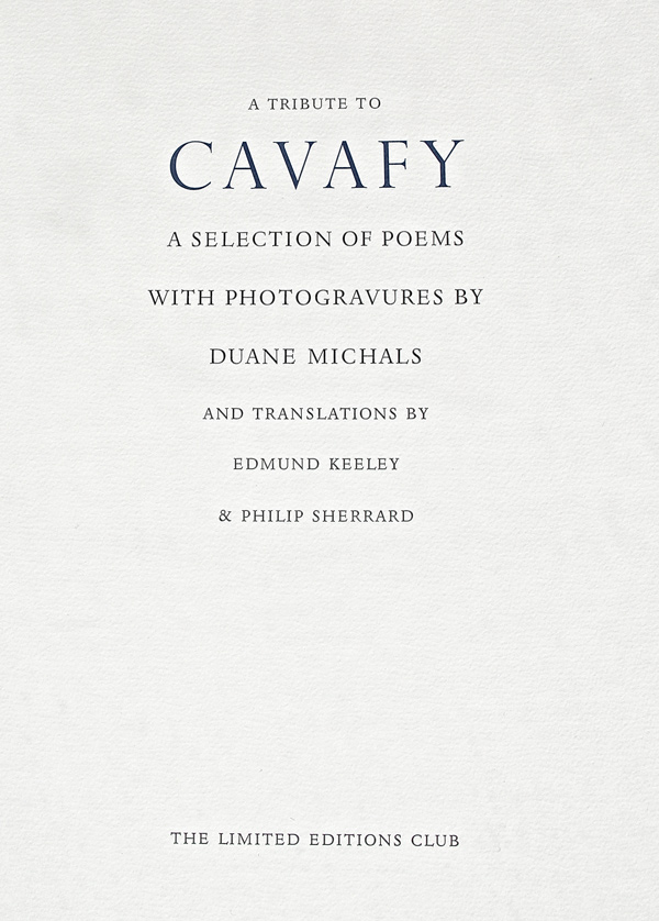 Tribute to Cavafy-Title-Page